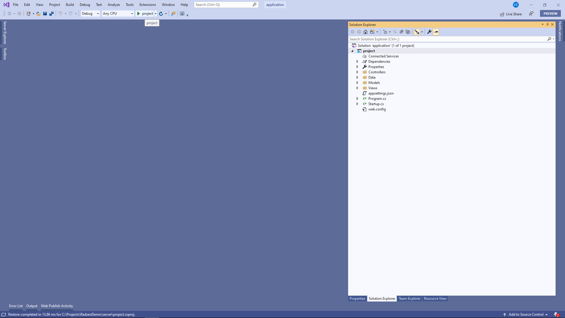 Run with Visual Studio